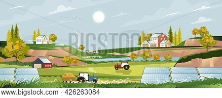 Green Energy,eco Friendly In Village With Solar House And Windmill Power,vector Solar Farm On Harves