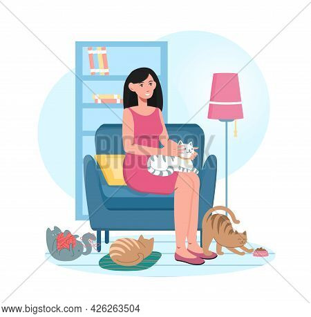 Young Smiling Female Character Is Sitting On Armchair Surrounded By Cats. Cheerful Female Cat Lover