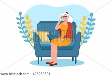 Grey Elderly Woman Is Talking On The Phone From Home. Elderly Senior People Having Conference Using