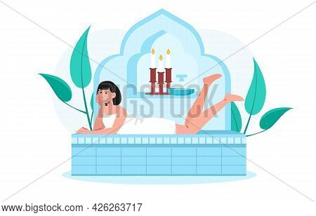 Young Smiling Female Character Is Spending Time In Hammam. Young Woman In Towels Is Lying In Sauna R