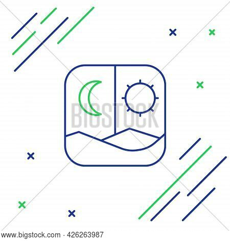 Line Ramadan Fasting Icon Isolated On White Background. Fast Day And Night. Religious Fasting. Color