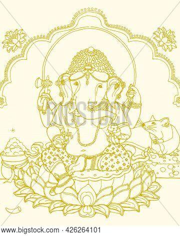 Sketch Of Lord Ganesha Sitting Outline Editable Vector Illustration