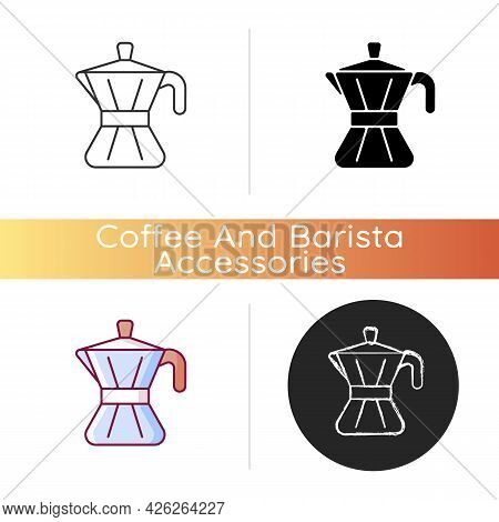 Moka Pot Icon. Steel Utensil For Kitchen. Coffee Maker. Tool For Brewing Espresso At Home. Stove Top