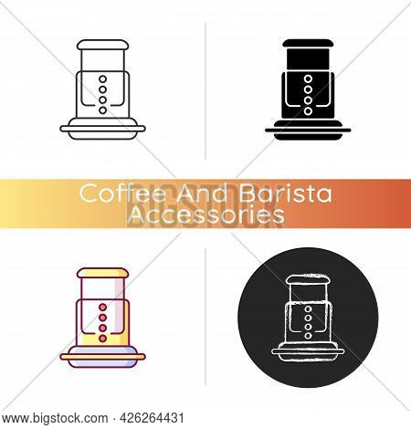 Air Pressure Coffee Plunger Icon. Professional Plunger For Espresso Making. Aeropress For Preparing