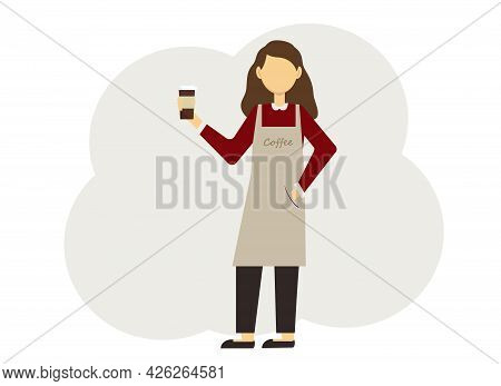 Illustration Of Barista Woman With Glasses Of Coffee And In Uniform With Aprons