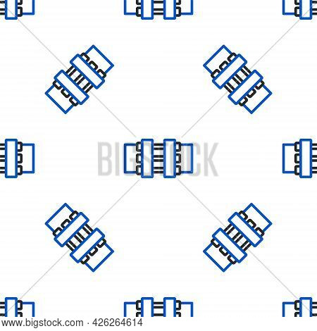 Line Industry Metallic Pipes And Valve Icon Isolated Seamless Pattern On White Background. Colorful