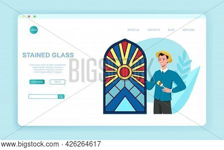 Young Character Painting Arched Window With Colorful Paints. Concept Of Stained Glass Manufacture. H