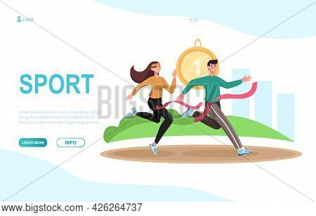 Young Male And Female Characters Are Running Together Outdoors. Concept Of Sport Couple Working Out