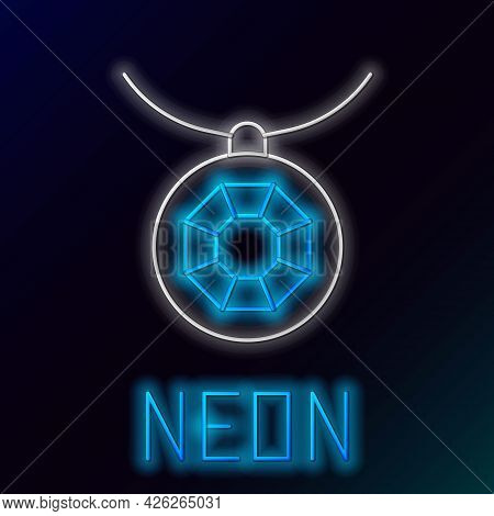 Glowing Neon Line Pendant On Necklace Icon Isolated On Black Background. Colorful Outline Concept. V