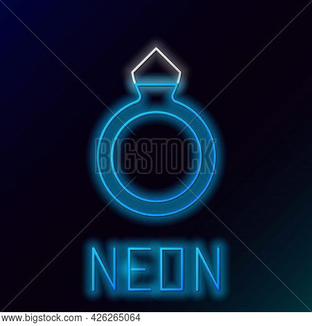 Glowing Neon Line Diamond Engagement Ring Icon Isolated On Black Background. Colorful Outline Concep