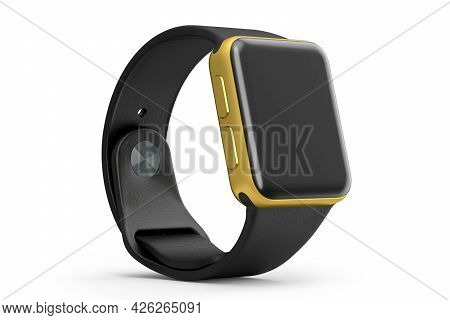 Stainless Gold Smart Watch With Black Strap Isolated On White Background. 3d Rendering Concept Of We
