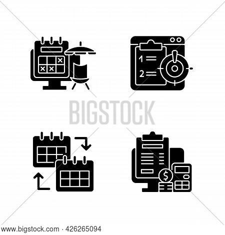 Remote Work Trackers Black Glyph Icons Set On White Space. Vacation Leave For Employee Marked On Cal