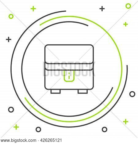 Line Jewelry Box Icon Isolated On White Background. Casket With Jewelry. Colorful Outline Concept. V