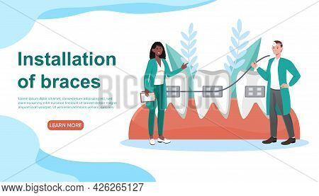 Male And Female Doctors Installing Braces Together. Concept Of Installing Braces In Orthodontic Clin