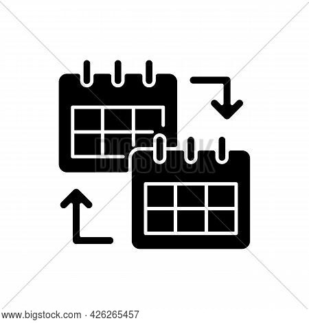 Calendar Sharing Black Glyph Icon. Online Schedule Check For Employee Cooperation. Controlling Appoi