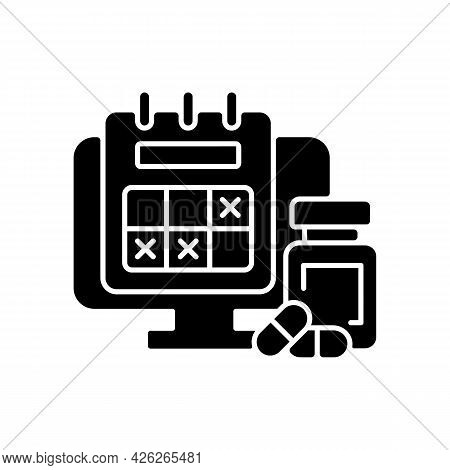 Tracking Sick Leave Time Black Glyph Icon. Scheduling Days Off For Employee During Illness. Worker M