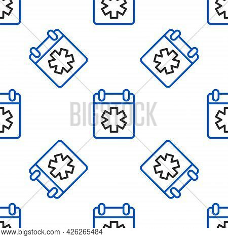 Line Doctor Appointment Icon Isolated Seamless Pattern On White Background. Calendar, Planning Board
