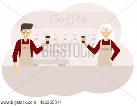 Illustration Of Coffee Shop Interior And Team Of Man And Woman Barista With Cups Of Coffee