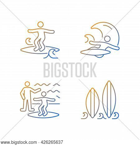 Surfboarding Gradient Linear Vector Icons Set. Crumbly Waves Surfing. Flight Maneuver. Taking Surf C