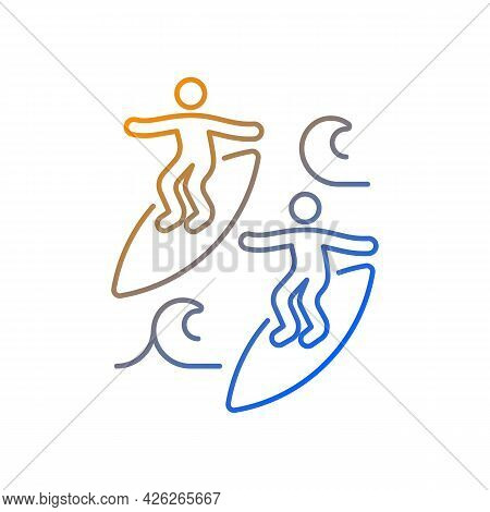 Surfing With Mate Gradient Linear Vector Icon. Catching Waves With Surf Coach, Experienced Friend. J