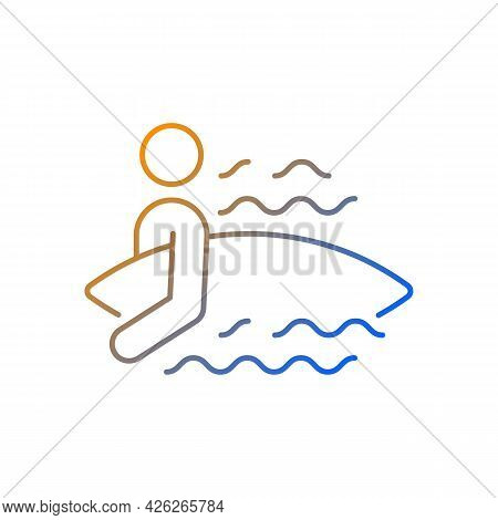 Surfer Entering Water Gradient Linear Vector Icon. Surfing For First Time. Choosing Surf Spot. Holdi