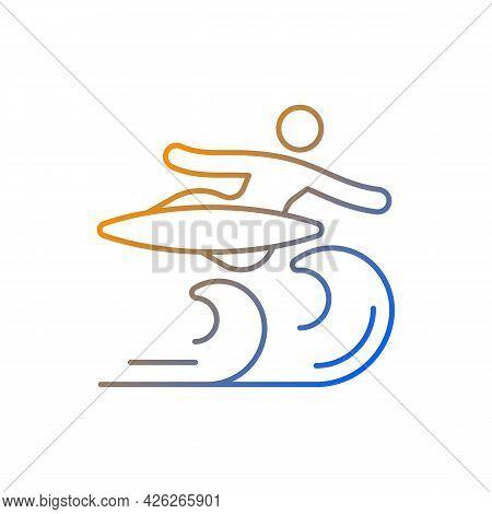 Air Surfing Technique Gradient Linear Vector Icon. Flight Maneuver. Flying Above Wave. Backward Aeri