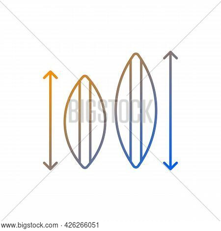 Choosing Surfboard Size Gradient Linear Vector Icon. Depending On Surfer Weight, Abilities. Shortboa