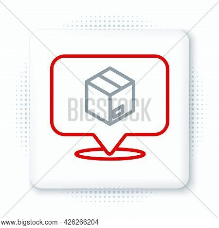 Line Location With Cardboard Box Icon Isolated On White Background. Delivery Services, Logistic And