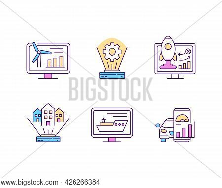 Digital Twin Rgb Color Icons Set. Isolated Vector Illustrations. Artificial Intelligence Systems. In