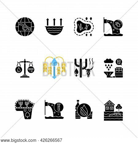 Global Water Crisis Black Glyph Icons Set On White Space. Water Resources Contamination. Reuse And R
