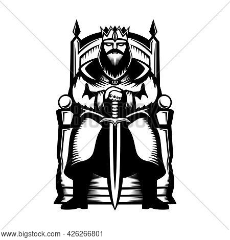 Illustration Of A King Sitting On A Throne With A Sword In His Hands On A White Background.