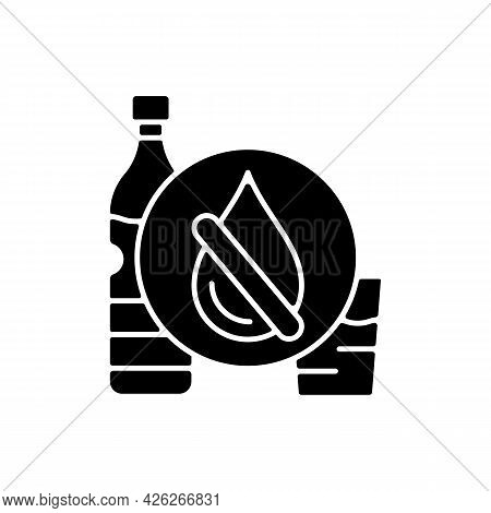 Drinking Water Shortage Black Glyph Icon. Contaminated Natural Source. Unimproved Sanitation. Living