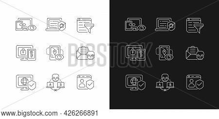 Internet Surveillance Linear Icons Set For Dark And Light Mode. Cross-device Track. Multi-factor Aut