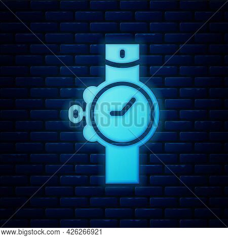 Glowing Neon Wrist Watch Icon Isolated On Brick Wall Background. Wristwatch Icon. Vector