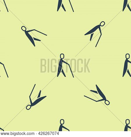 Blue Blind Human Holding Stick Icon Isolated Seamless Pattern On Yellow Background. Disabled Human W