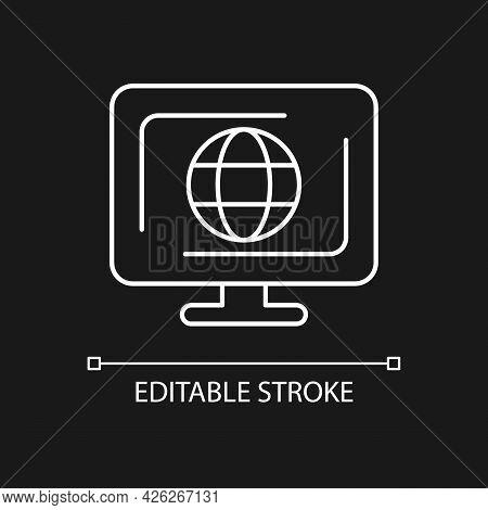 Cyberspace White Linear Icon For Dark Theme. Virtual Computer World. Internet Environment. Thin Line