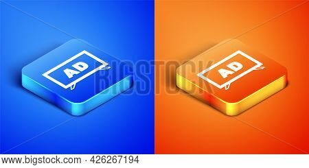 Isometric Advertising Icon Isolated On Blue And Orange Background. Concept Of Marketing And Promotio