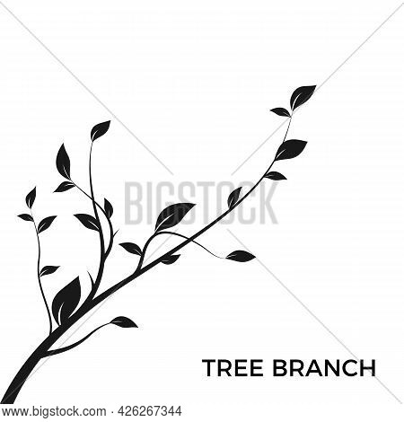Silhouette Tree Branch. Bush Silhouette Isolated On White Background With A Lot Of Leaves. Decoratio