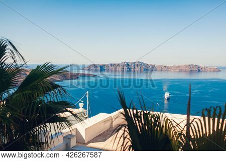 Santorini Landscape Of Aegean Sea With Big Passenger Cruise Ship By Volcano Island. Caldera View. Th