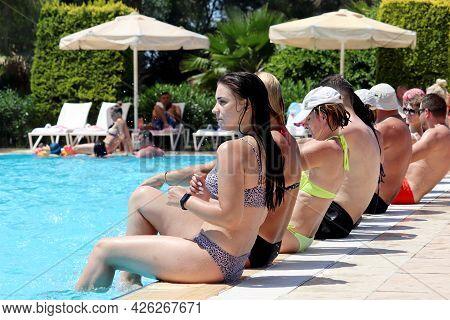 Marmaris, Turkey - July 2021: People Doing Aqua Aerobics In A Swimming Pool. Water Sport, Vacation A