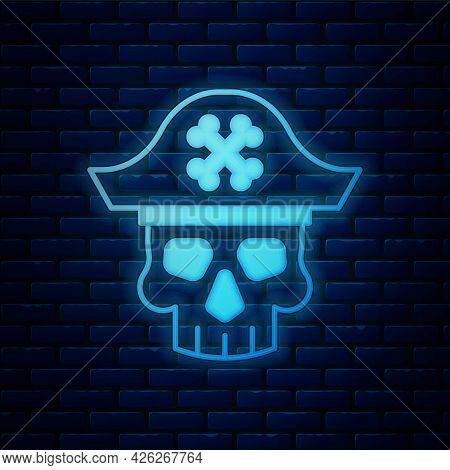 Glowing Neon Pirate Captain Icon Isolated On Brick Wall Background. Vector