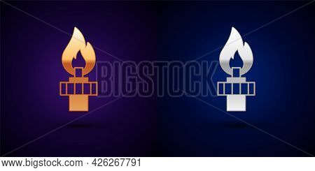 Gold And Silver Oil Rig With Fire Icon Isolated On Black Background. Gas Tower. Industrial Object. V