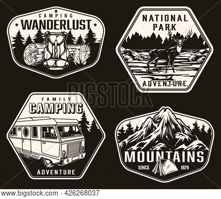 Summer Recreation And National Park Labels In Vintage Monochrome Style With Backpack Wooden Log Moto