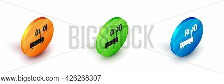 Isometric Router And Wi-fi Signal Icon Isolated On White Background. Wireless Ethernet Modem Router.