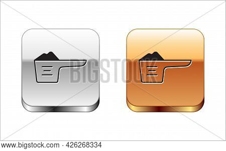 Black Washing Powder In A Measuring Cup Icon Isolated On White Background. Silver And Gold Square Bu