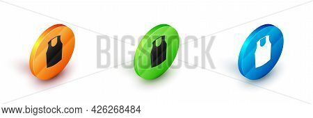 Isometric Undershirt Icon Isolated On White Background. Circle Button. Vector