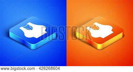 Isometric Undershirt Icon Isolated On Blue And Orange Background. Square Button. Vector