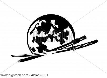 Japanese Katana Sword And Full Moon - Traditional Samurai Warrior Weapon Black And White Vector Desi