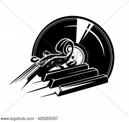 Violin Neck And Piano Keys With Vinyl Disk Record - Classical Music Album Black And White Vector Con