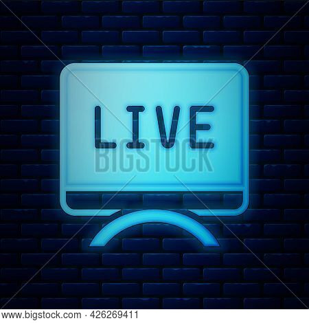 Glowing Neon Live Report Icon Isolated On Brick Wall Background. Live News, Hot News. Vector
